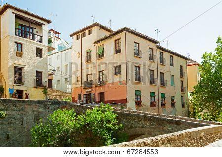 Old street (Carrera del Darro) in Granada,  Spain.
