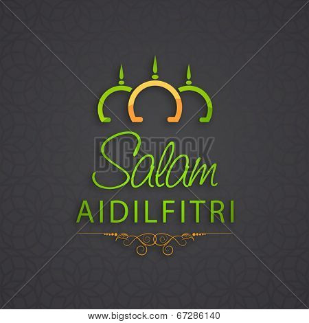 Colorful mosque and stylish text Salam Aidilfitri on grey background for Muslim community festival Eid Mubarak celebrations.