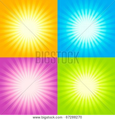 Set Of Sunburst Backgrounds
