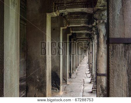 Corridor at the Ancient Angkor Wat Temple, Siem Reap, Cambodia