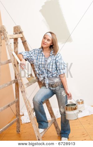 Home Improvement: Smiling Woman With Paint