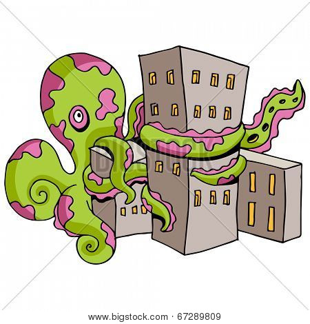 An image of a giant octopus attacking a city.
