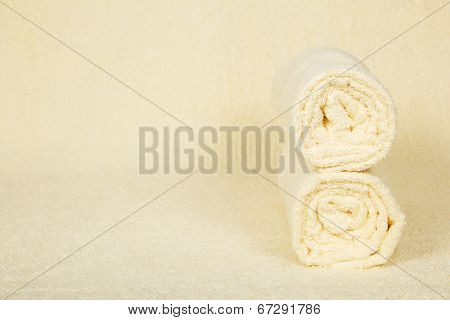 Two fluffy towels roll