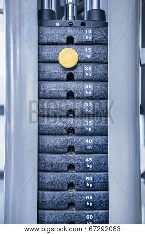 Gym Weight Machine. Amount Of Weight On Lifting Machine