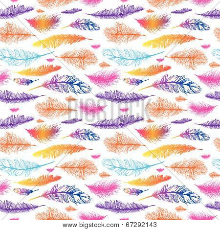 Set of seamless pattern vector feathers. EPS