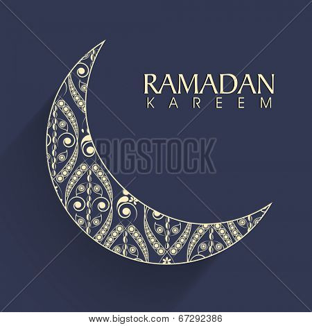 Beautiful crescent moon decorated with golden pearls on blue background for holy month of Muslim community Ramadan Kareem.