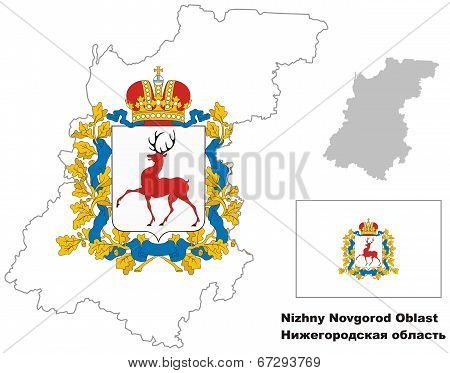 Outline Map Of Nizhny Novgorod Oblast With Flag