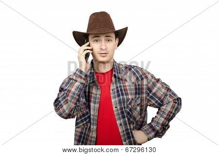 Perky Young Cowboy Calling On Smartphone