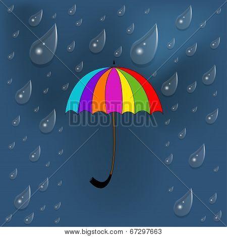 Colorful umbrella under rain with blue background