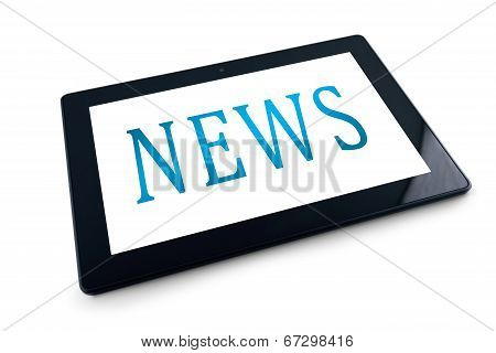 Tablet Pc On White Background With News Title