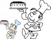 picture of confectioners  - Confectioner carrying a cake - JPG