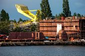picture of shipbuilding  - Part of large ship under construction site - JPG