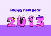 pic of happy new year 2013  - Happy new year 2013 sign in pink - JPG