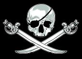 image of saber  - pirate flag with skull and crossed sabers - JPG