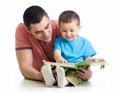 picture of lap  - man reading a book to son kid isolated - JPG