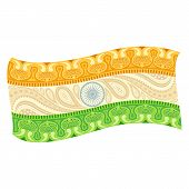 stock photo of indian flag  - easy to edit vector illustration of Indian Flag in floral design - JPG