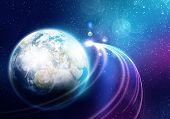 image of planet earth  - Space image of planet Earth and satellite - JPG