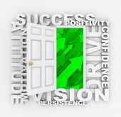 pic of self-confident  - Several words symbolizing qualities of a successful person surround a door leading to growth - JPG