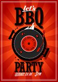 stock photo of bbq party  - Bbq party design with vinyl record on the grill - JPG