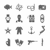picture of flipper  - Diving scuba black silhouette icons set of underwater sport symbols isolated vector illustration - JPG