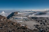 picture of kilimanjaro  - Looking down towards the Western Breach and the icefields of Kilimanjaro - JPG