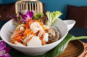 image of green papaya salad  - Traditional dish of freshly prepared Thai food - JPG
