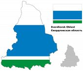 stock photo of ekaterinburg  - Outline map of Sverdlovsk Oblast with flag - JPG