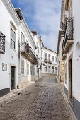 stock photo of faro  - The street in old historic district of Faro in Portugal - JPG