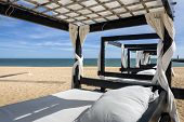 foto of vilamoura  - Massage table on beach in Vilamoura South of Portugal