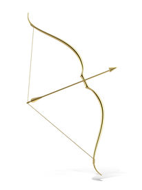 stock photo of ero  - golden bow and arrow isolated on a white background - JPG