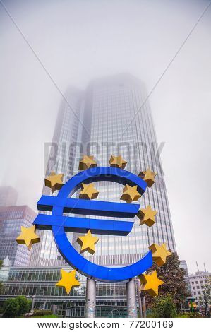 Euro Sign In Front Of The European Central Bank Building