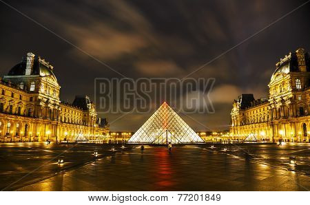 The Louvre Pyramid In Paris At Night