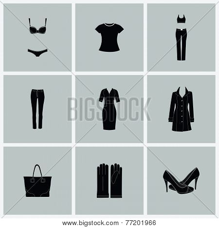 Fashion clothes for woman.Vector flat icons isolated on white