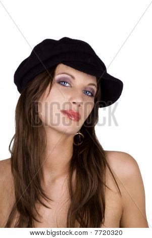 Fashion Model Wearing A Beret