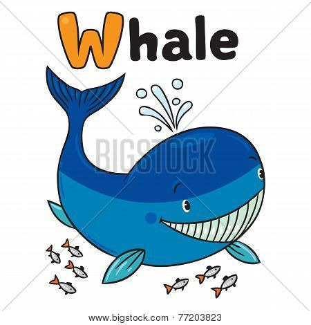 Funny Little Whale. Alphabet W