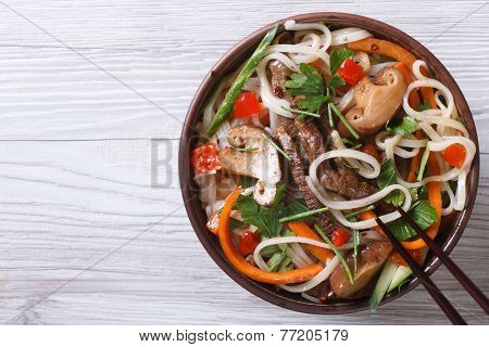 Rice Noodles With Meat, Vegetables And Shiitake  Top View
