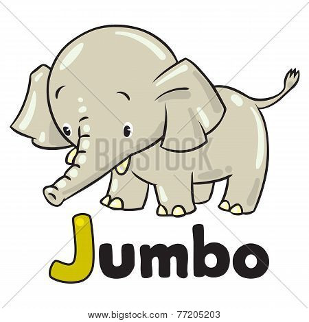 Little funny elephant or jumbo. Alphabet J