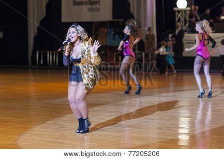 Minsk-belarus, October 4, 2014: Kornelia Mango (russian Federation Singer) Performs
