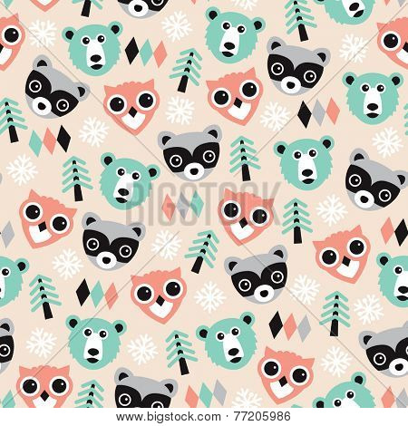 Seamless winter woodland bear owl and raccoon and pine tree illustration background pattern in vector