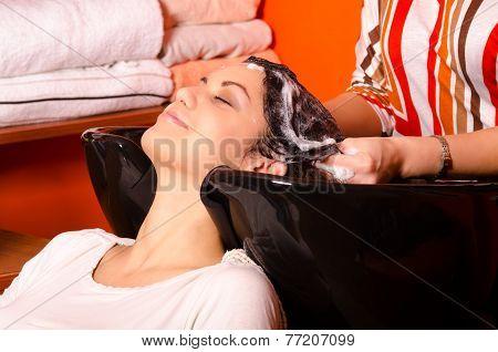 Hairdresser Washing Hair Of Beautiful Girl