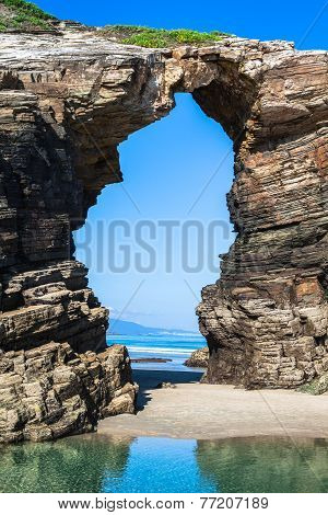 Las Catedrales Beach In Galicia, Spain. Paradise Beach In Ribadeo, Spain