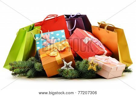 Colorful Gift Boxes And Paper Bags Isolated On White