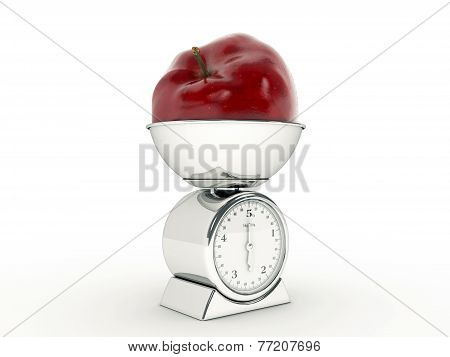 kitchen scale with giant apple