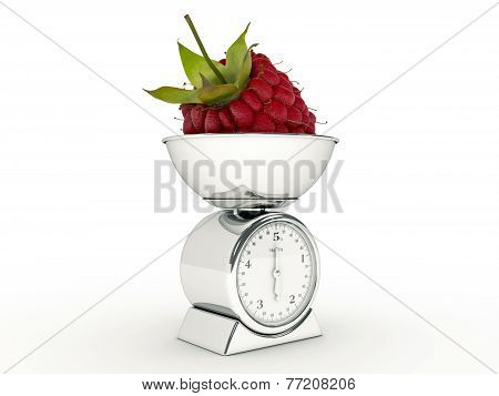 kitchen scale with giant raspberry