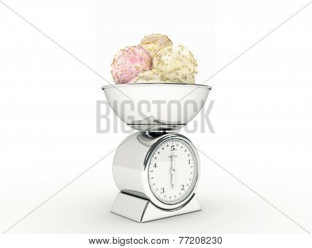 kitchen scale with ice cream