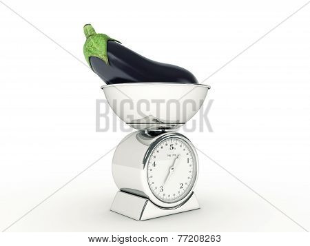 kitchen scale with giant eggplant