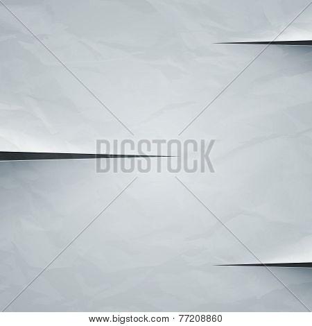 White crumpled paper cut background