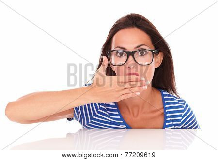 Charming Lady With Glasses Looking Surprised