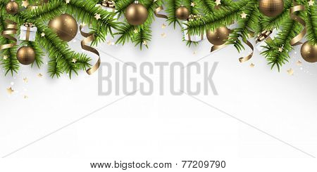 Winter banner  with spruce twigs and golden baubles. Christmas vector illustration. Eps10.