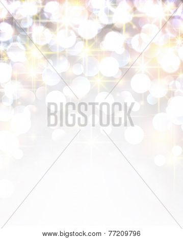 Silver shiny defocused christmas background. Vector starry illustration.